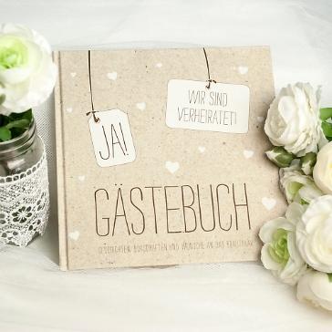 Gästebuch JA! in Kraftpapier-Look zur Hochzeit