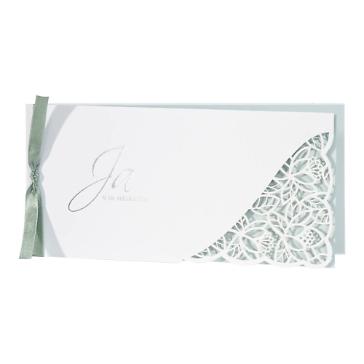 Hochzeitseinladung Avaline, weiß-grün