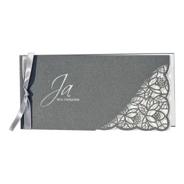 Hochzeitseinladung Avaline, grau, silber