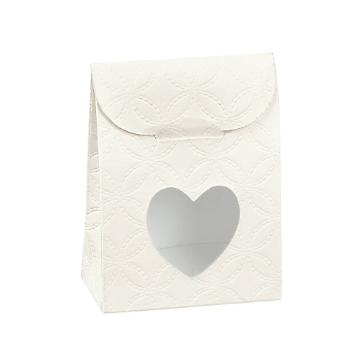 Gastgeschenk Tüte Herz mit Muster in Creme