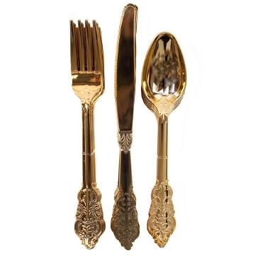Plastikbesteck Luxury, gold