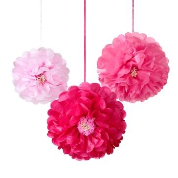 PomPoms Blüten, rosa, pink