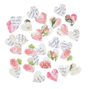 Tischkonfetti Herzen Blütenmuster