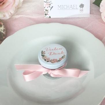 Gastgeschenk Thalia mit Blütensticker, rosa