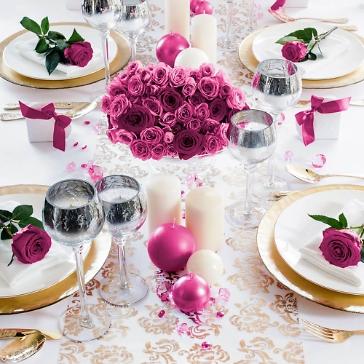 Tischläufer Ornament Organza, gold, silber, dekoriert