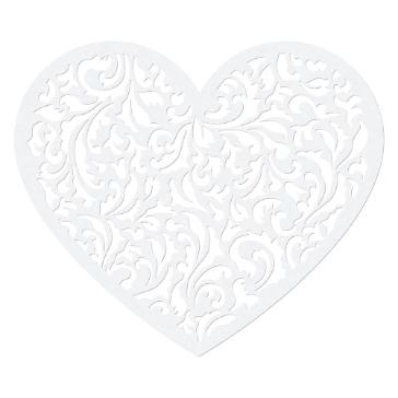 Papierdeko Ornament Herz, weiß, perlmutt, 10 St.