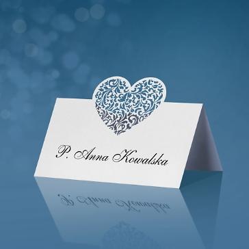 Tischkarte Ornament Herz, weiß