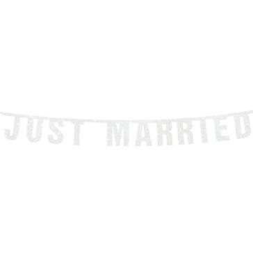 Glitzer Girlande Just Married, weiß