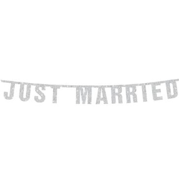 Glitzer Girlande Just Married, silber