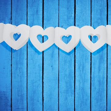 Seidenpapier Girlande Herzen, weiß