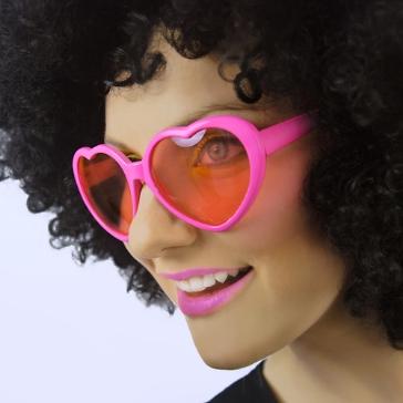 Herzbrille, pink