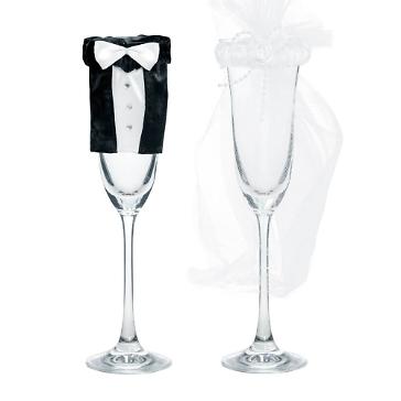 Kleidung für Sektgläser Braut & Bräutigam