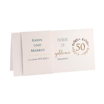 Einladung Goldene Hochzeit Karin, gold, Klappkarte mit Banderole