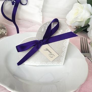 Gastgeschenk Hestia, grau, ultraviolett, Vintage, Hochzeit Taufe, Kommunion, lila