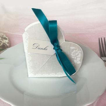 Gastgeschenk Hestia, grau, petrol, Vintage, Hochzeit Taufe, Kommunion