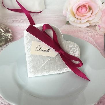 Gastgeschenk Hestia, grau, fuchsia, Vintage, Hochzeit Taufe, Kommunion