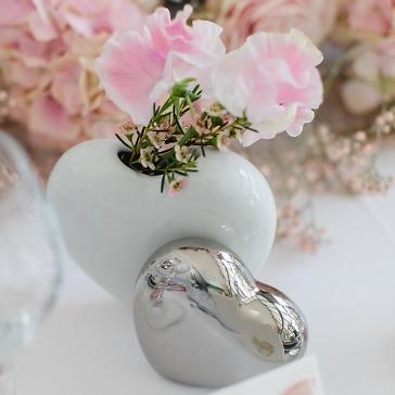 Vase doppeltes Herz, silber-weiß