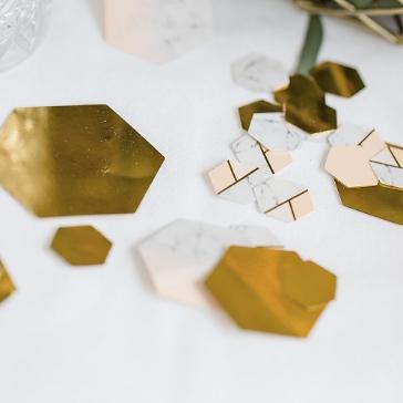 Tischkonfetti Marmor Geometric, apricot, ca. 100 St
