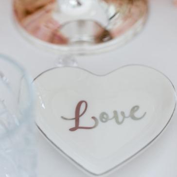 Ringschale Love, weiß, silber