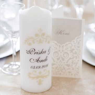 Hochzeitskerze Vintage Dekor, creme, personalisiert