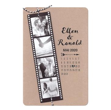Hochzeitseinladung Celina aus Kraftpapier mit individuellen Fotos