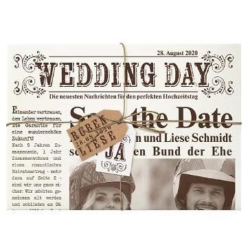 Hochzeitseinladung Newspaper im Vintage-Look