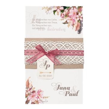Hochzeitseinladung Marie mit einem Aquarell von rosa Blumen mit Spitze