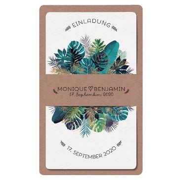 Hochzeitseinladung Namika aus Aquarell und Kraftpapier mit Blätter und Farn Motiv in Blau und Grün