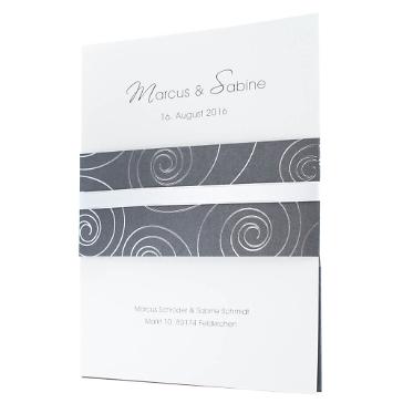Einladungskarte Hanna in Grau und Weiß