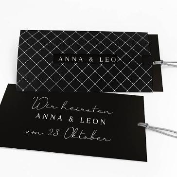 Einladungskarte Elegant - Schwarz