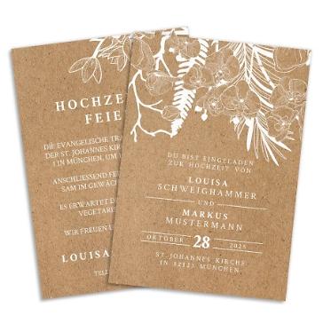 Hochzeitseinladung im Kraftpapier Design