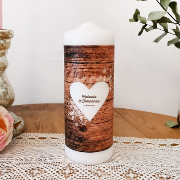 Hochzeitskerze Herzenssache, personalisierbar, Holzoptik, vintage rustikal