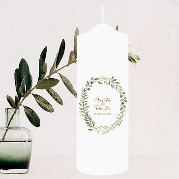 Hochzeitskerze Skandinavisch Eukalyptus