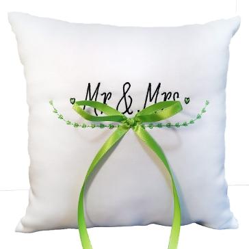 Ringkissen Natural Wedding, weiß grün