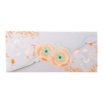 Hochzeitskarte in Apricot - Grau