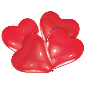 5 rote Herzballons, mittel