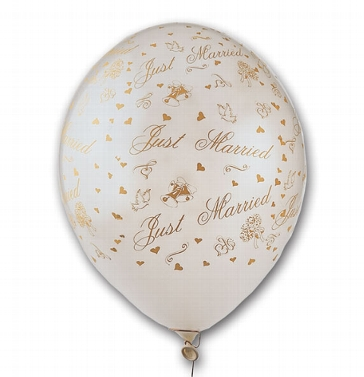 "Luftballons mit Aufdruck ""Just Married"" in gold"
