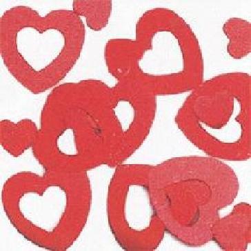 """Flitter-Konfetti """"Herz mit Loch"""" - rote Herzen zur Hochzeitsdekoration"""