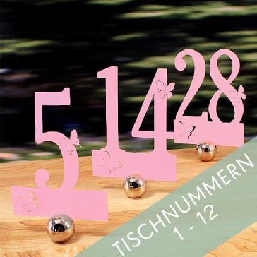 Tischnummern Schmetterling in Rosa - 1-12