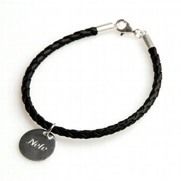 Armband in schwarzer Lederoptik mit Wunschgravur