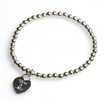 Armband You & me silber - 17 cm - mit Gravur