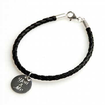 Armband You & me Lederoptik schwarz 18 cm