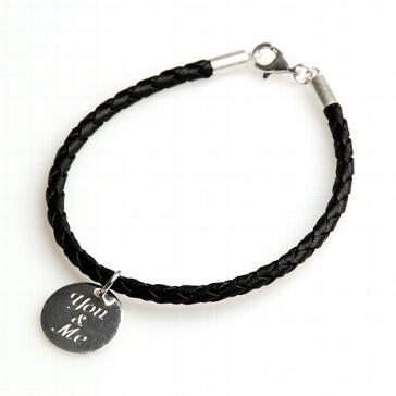 Armband You & me Lederoptik schwarz 20 cm