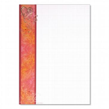 Artoz Designpapier A4 Dancing heart rot, 5 St.