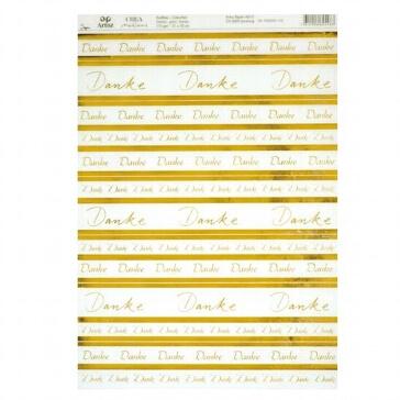 "Artoz Kreativpapier A4 ""Danke"", transparent, gold"