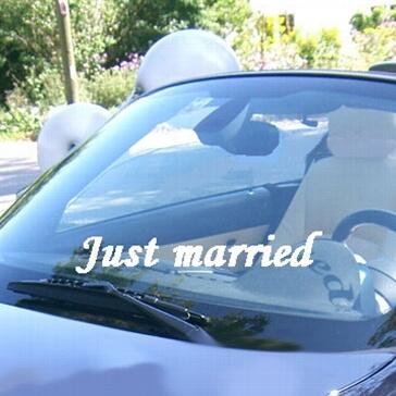"Autoaufkleber ""Just married"", gerade, weiß"
