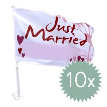Autoflagge Hochzeit 10er Set