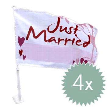 """Autoflagge """"Hochzeit"""" 4er Set"""