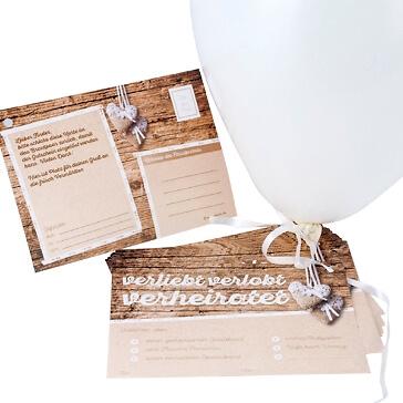 Ballonkarten Gutschein in Holzoptik