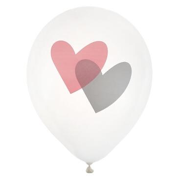 "Ballons ""Love Love"", rosa, 8 St. - Rosa Luftballons mit Herzen"